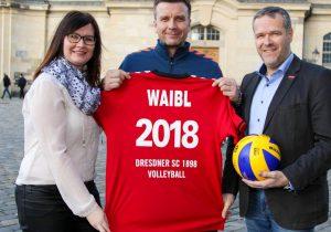 Sandra Zimmermann, Cheftrainer Alexander Waibl und Dr. Jörg Dittrich, Vorstandsvorsitzender des DSC